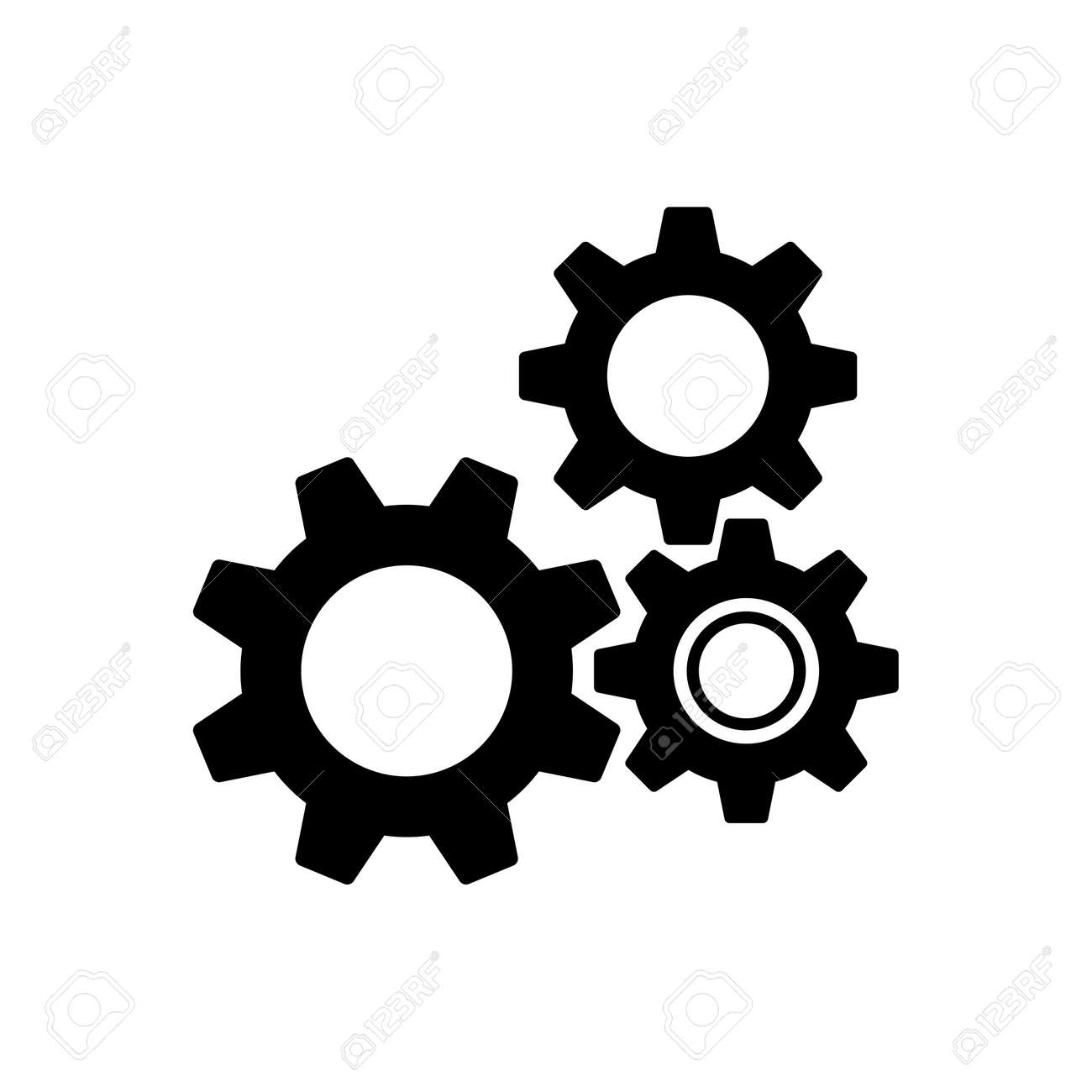 Gear wheels pictogram, icon isolated on a white background. EPS10 vector file - 153280778