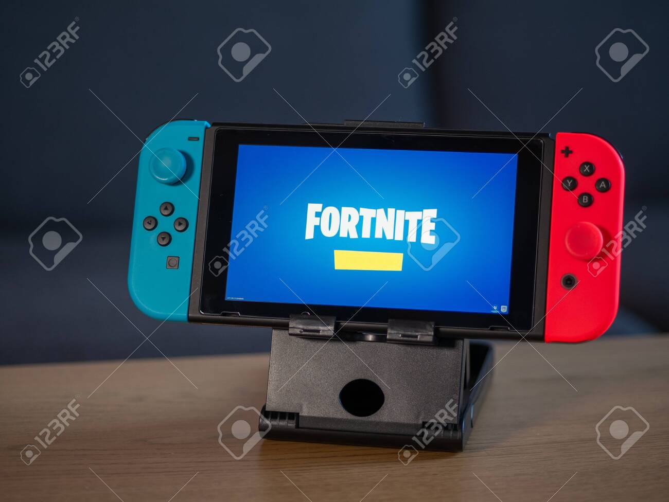 Uk Feb 2020 Nintendo Switch With Fortnite Game Logo On Screen Stock Photo Picture And Royalty Free Image Image 141403136