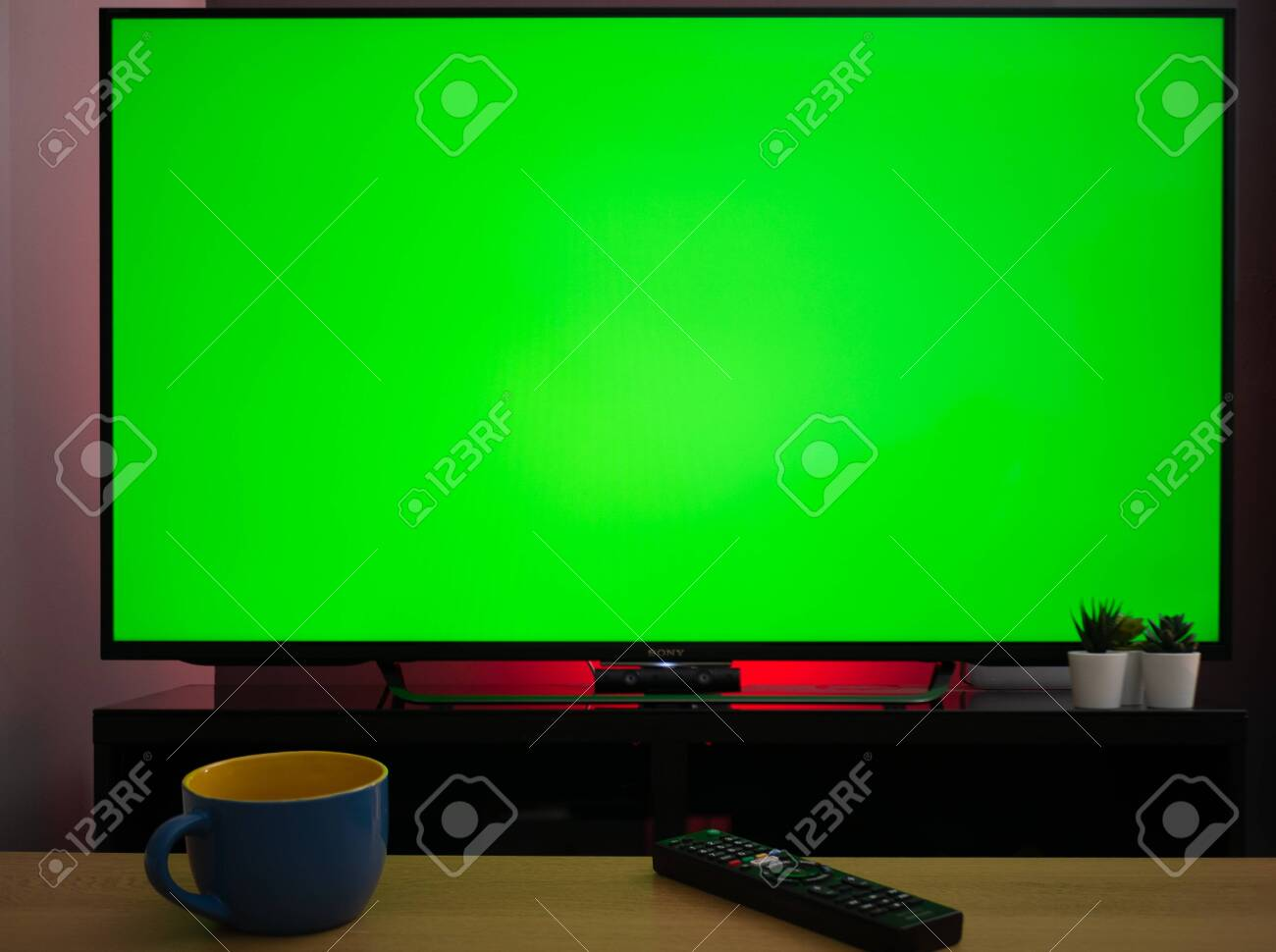 Chroma Key Green Screen Tv Television Screen In Living Room Home Stock Photo Picture And Royalty Free Image Image 144140714