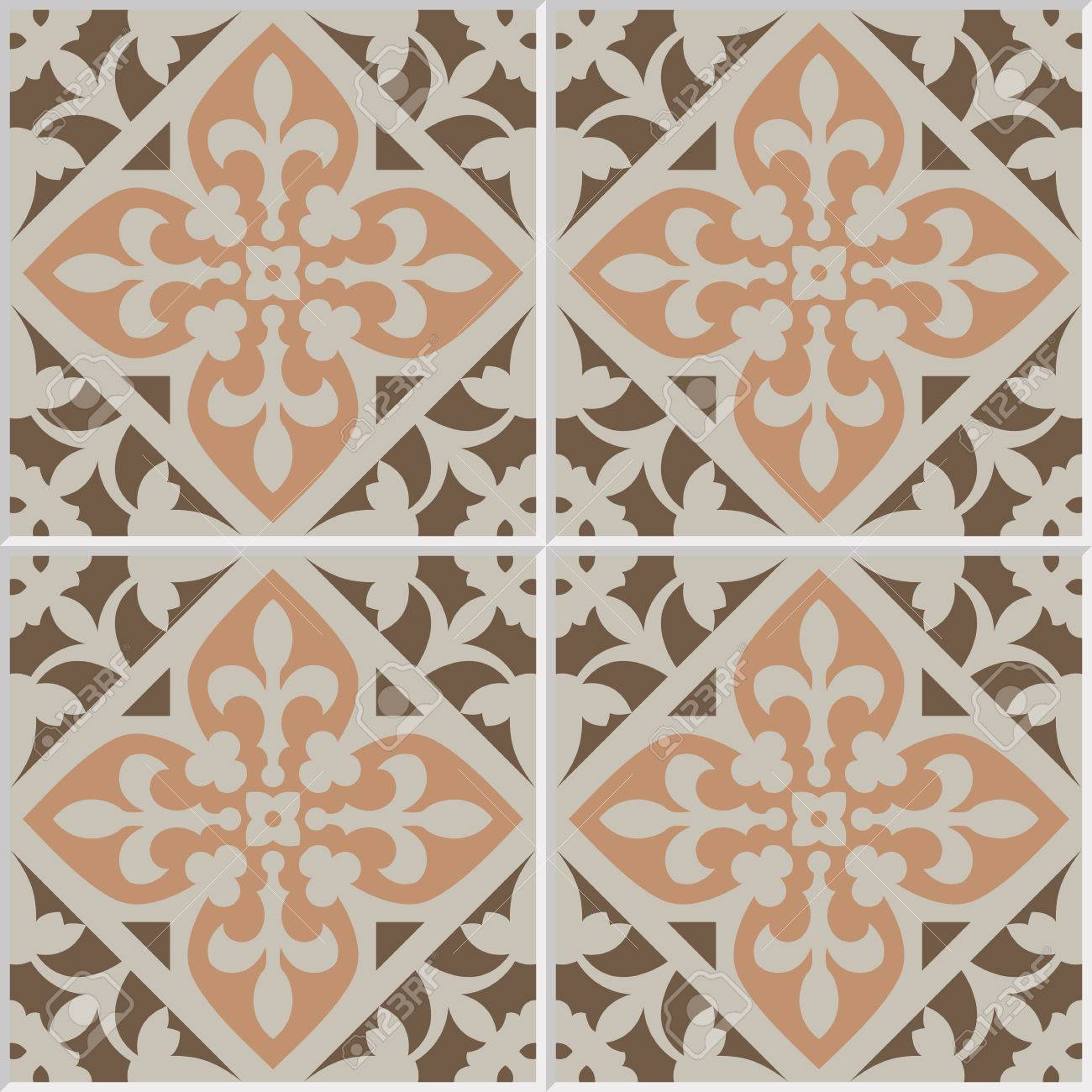 Vintage Ceramic Mosaic Floor Tile Seamless Pattern, Traditional ...