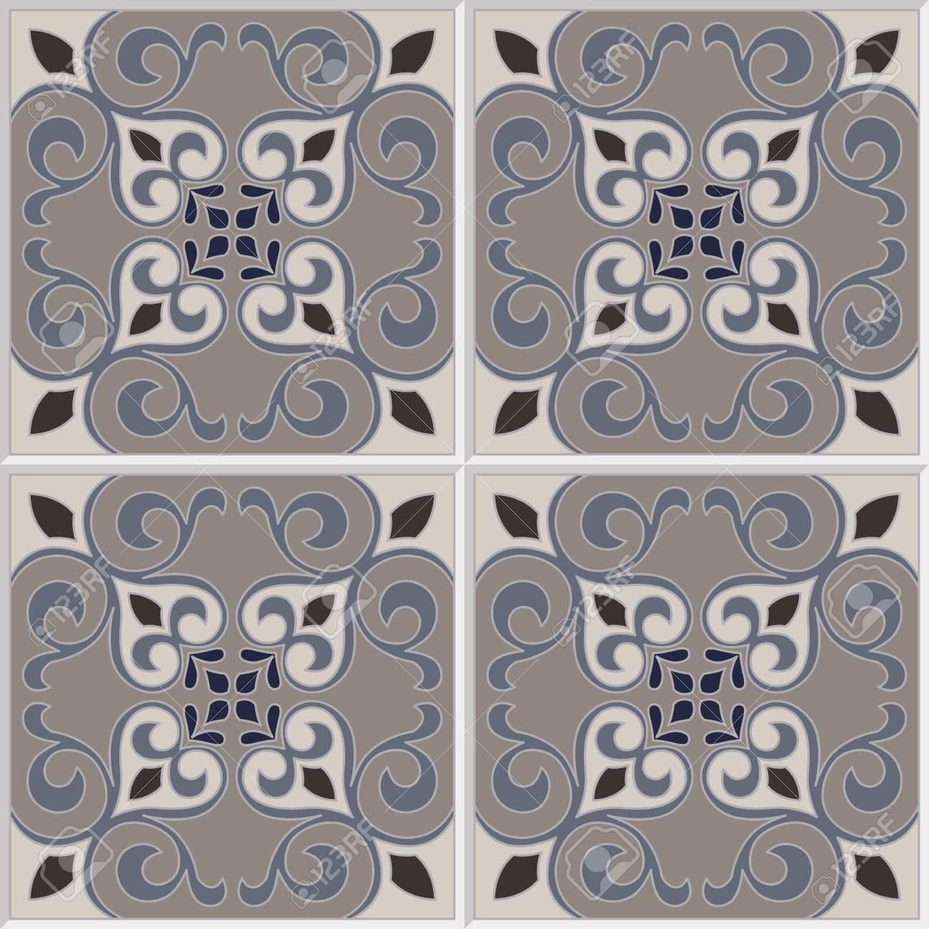 Piastrelle Cucina Con Fiori reticolo delle mattonelle di vettore senza soluzione di continuità con  fiori motivi. azulejo, piastrelle portoghese, spagnolo, marocchini, turchi  o di