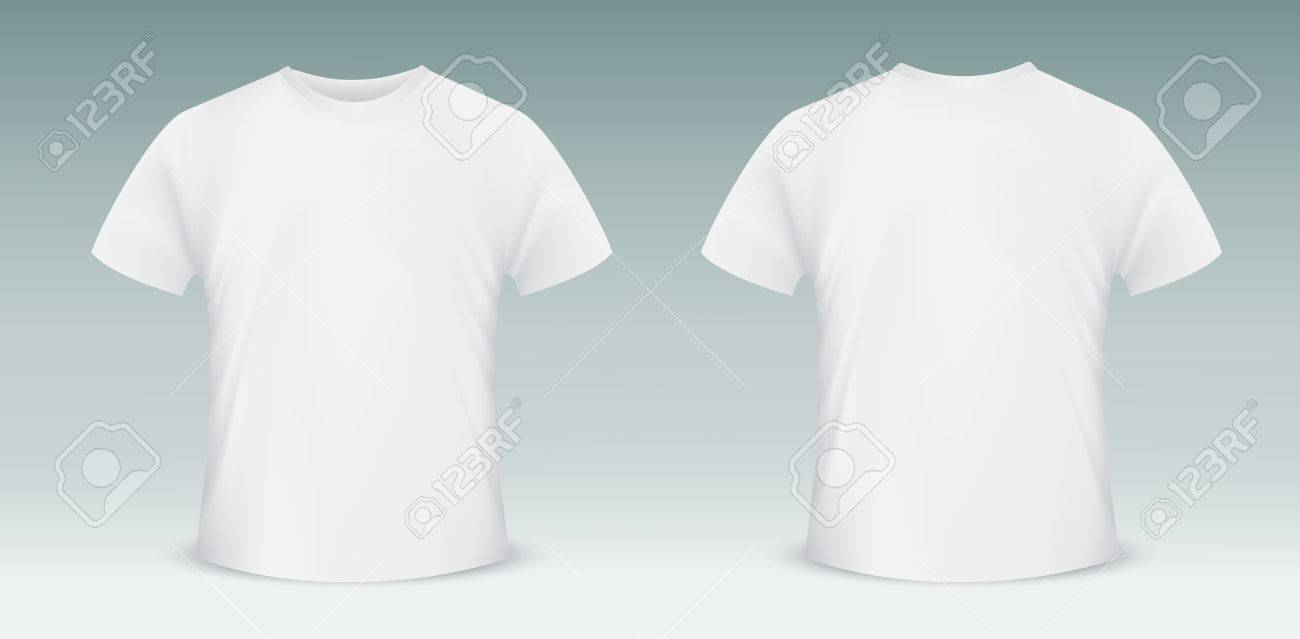 Vector Blank T-shirt Template. Front And Back Side Royalty Free ...