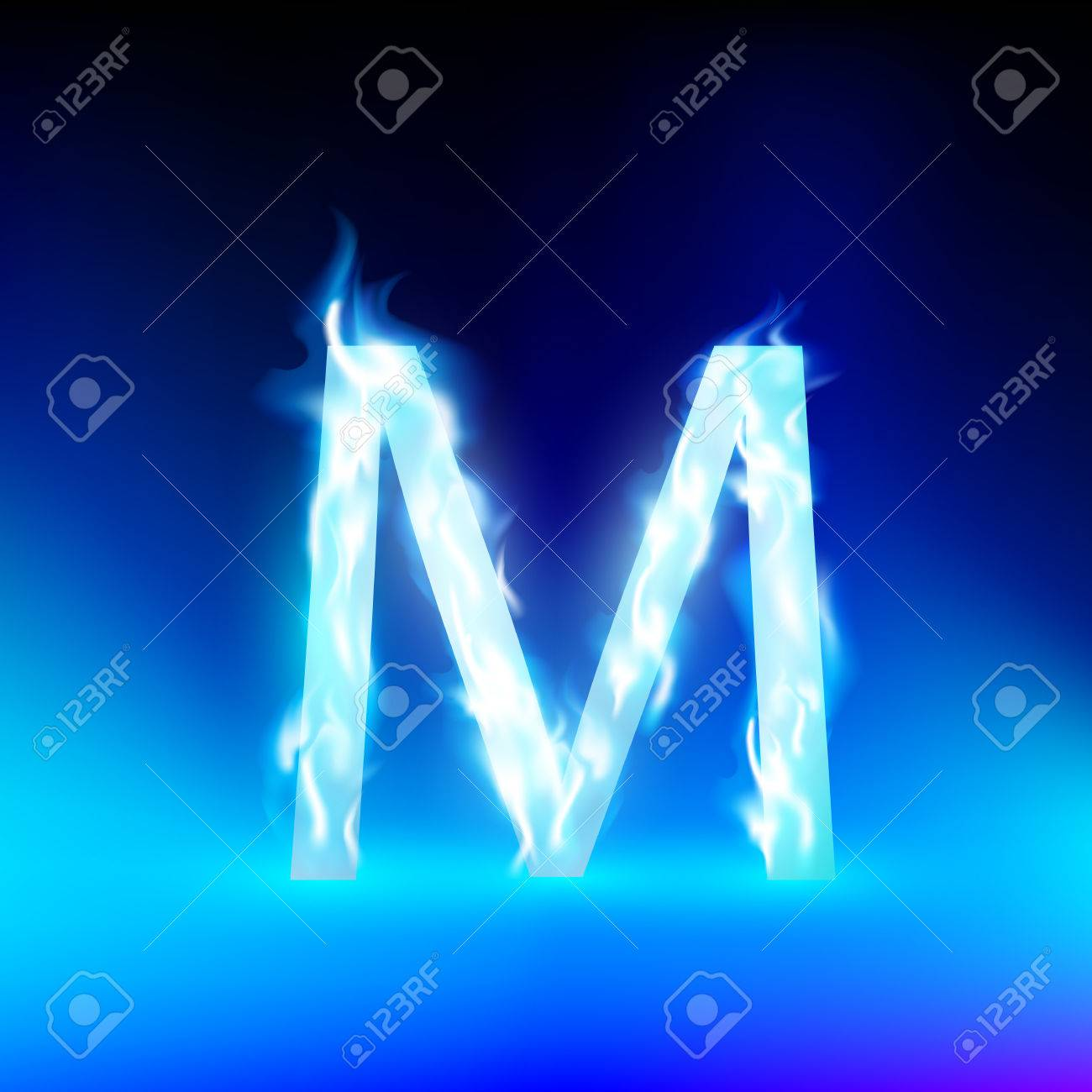 letter m with blue fire royalty free cliparts, vectors, and stock