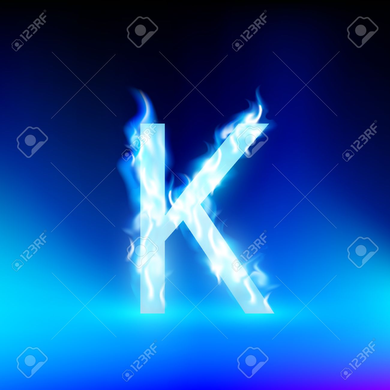 Letter K With Blue Fire Stock Vector   36960498