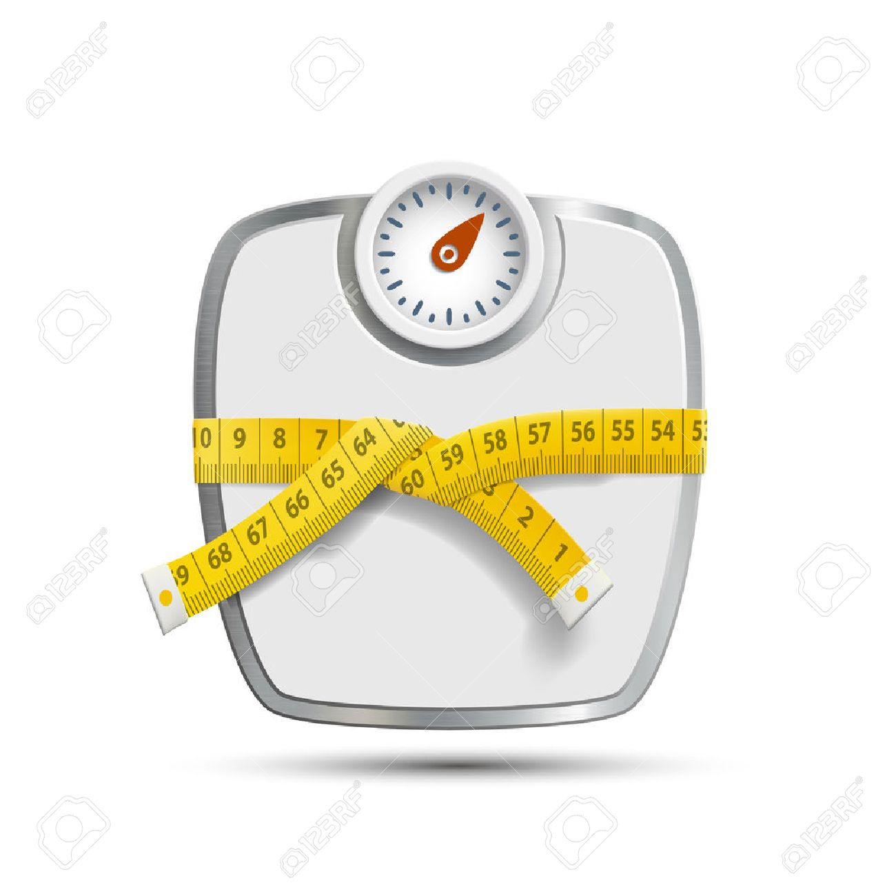 Scales for weighing with the measuring tape. Vector image. - 38492855