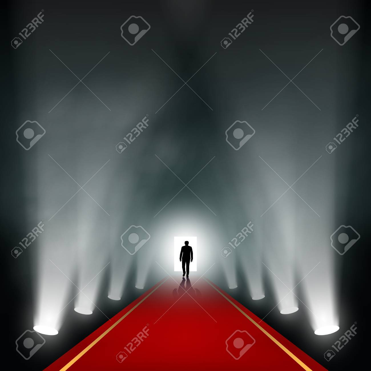Man comes to the light. Vector image. - 41134621