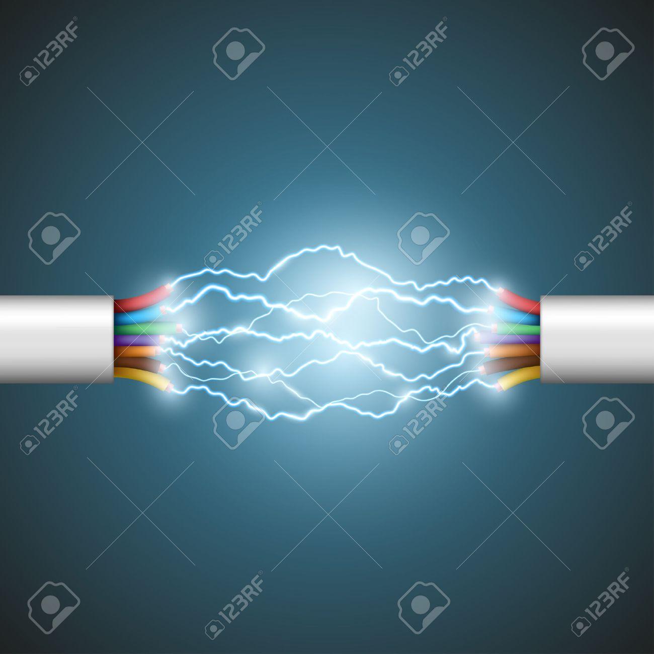 Lichtbogen Zwischen Den Drähten. Elektrische Schaltung. Vektorgrafik ...