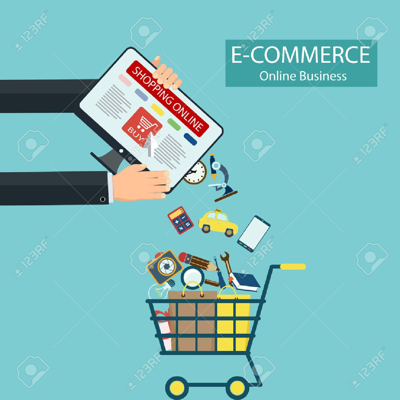 E-commerce. Shopping online. Computer and goods in the shopping cart. Stock vector illustration. - 51837188