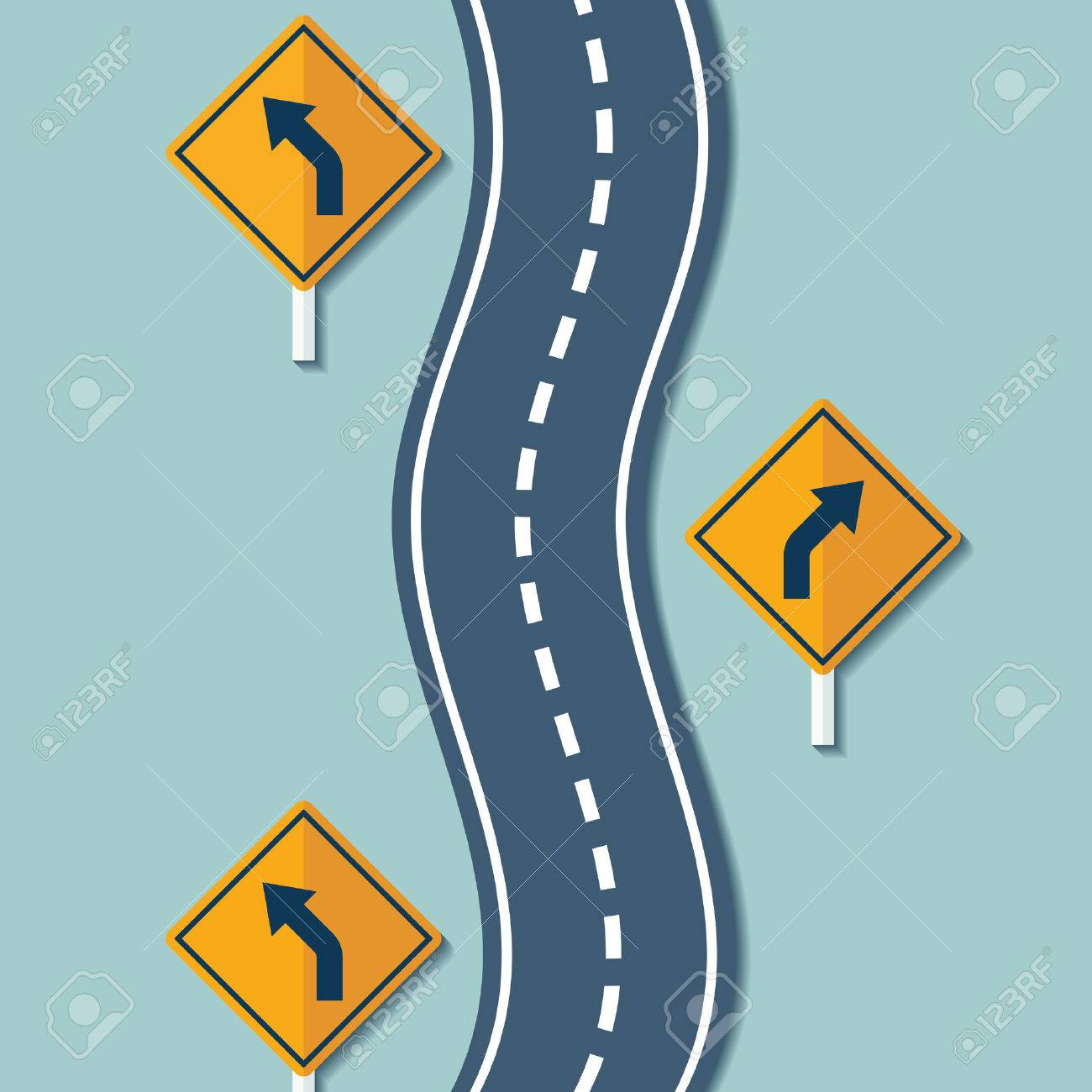 Winding road and warning signs. Flat graphics. Vector Stock illustration. - 51838118