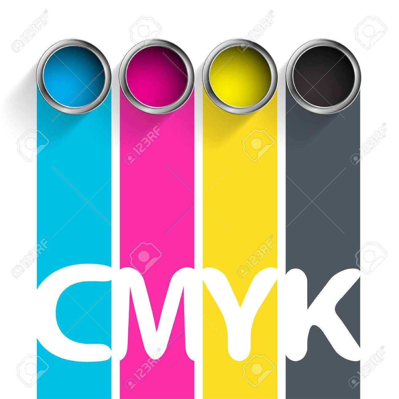 Bucket of paint CMYK. Color scheme for the printing industry. Stock vector illustration. - 54155867