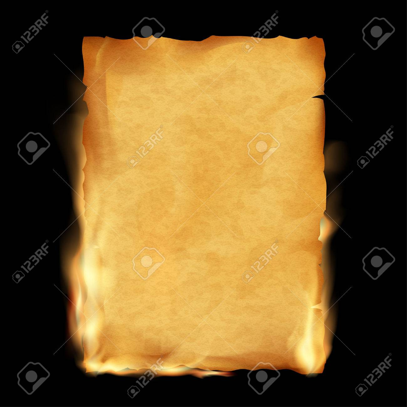 Old parchment is burning. Vintage grunge texture. Stock vector illustration. - 55927827