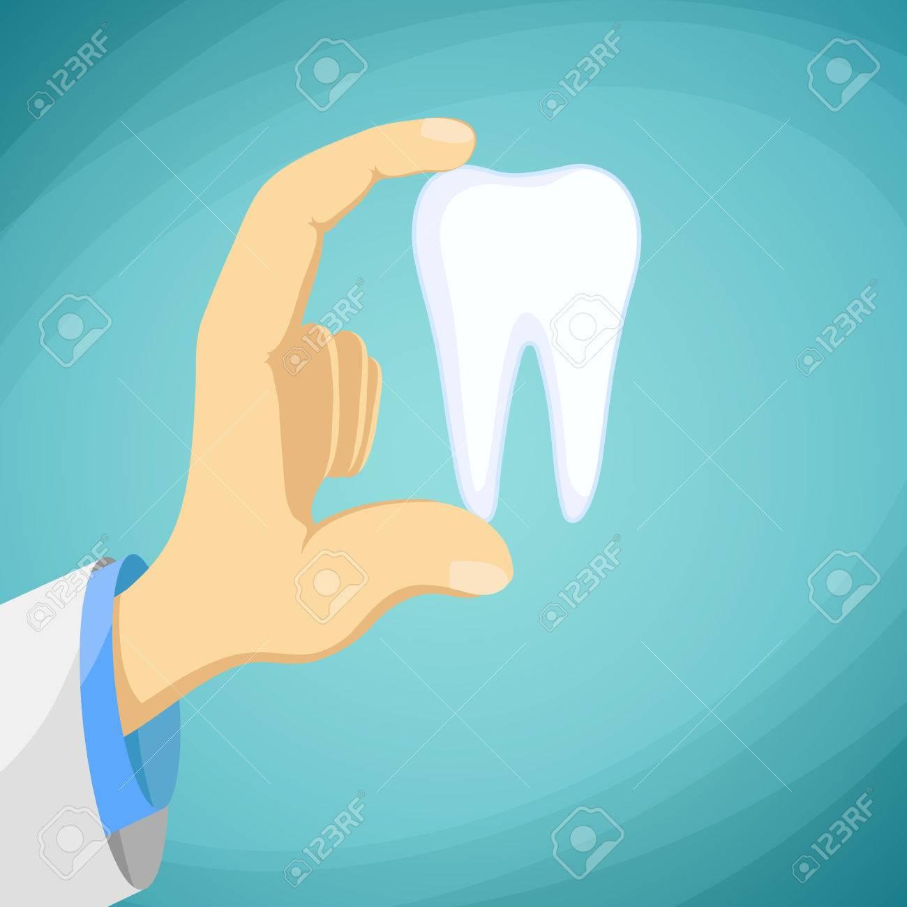 Arzt Zahnarzt Einen Menschlichen Zahn In Seiner Hand Hält. Auf ...