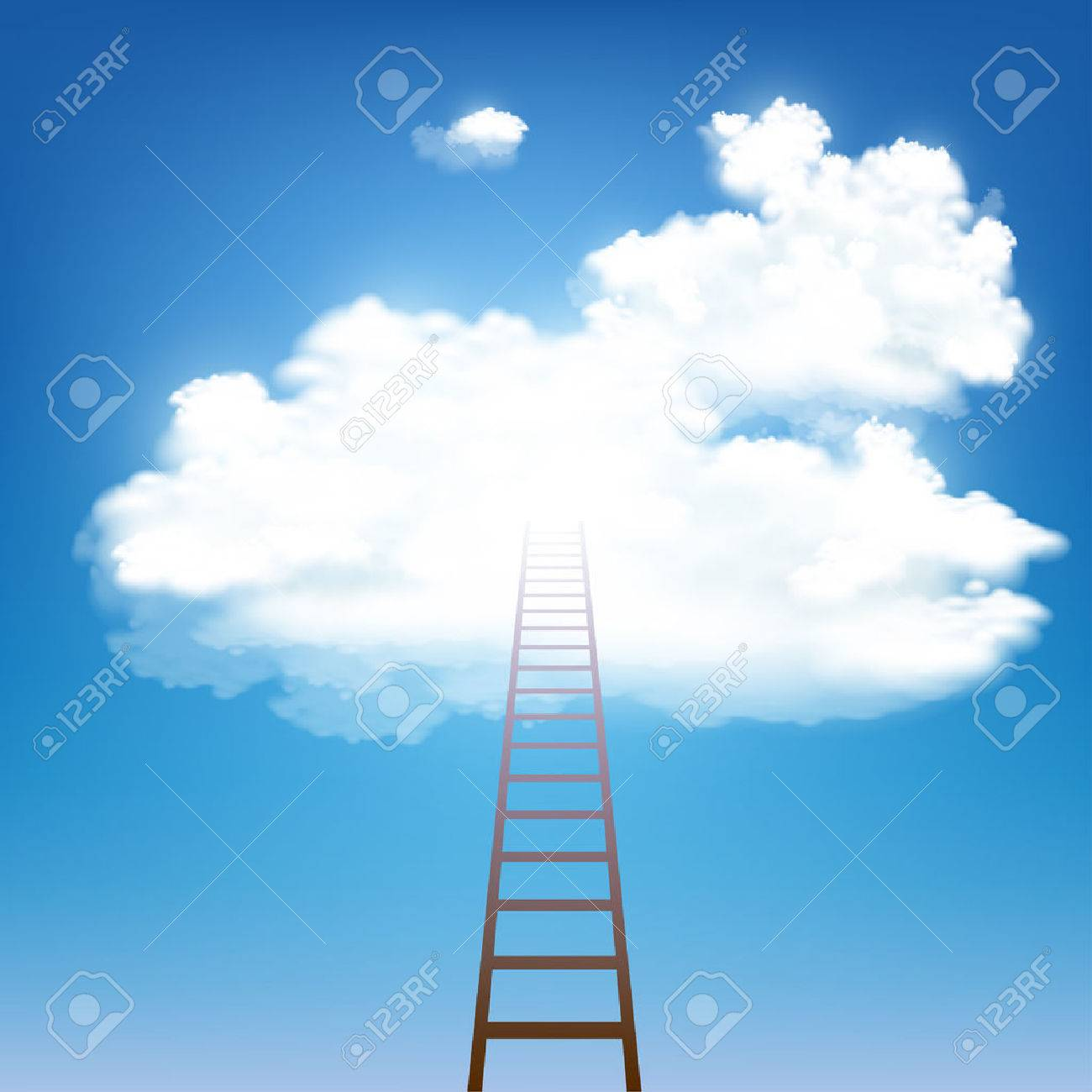 Stairway rises to the clouds. Stock vector illustration. - 58745690