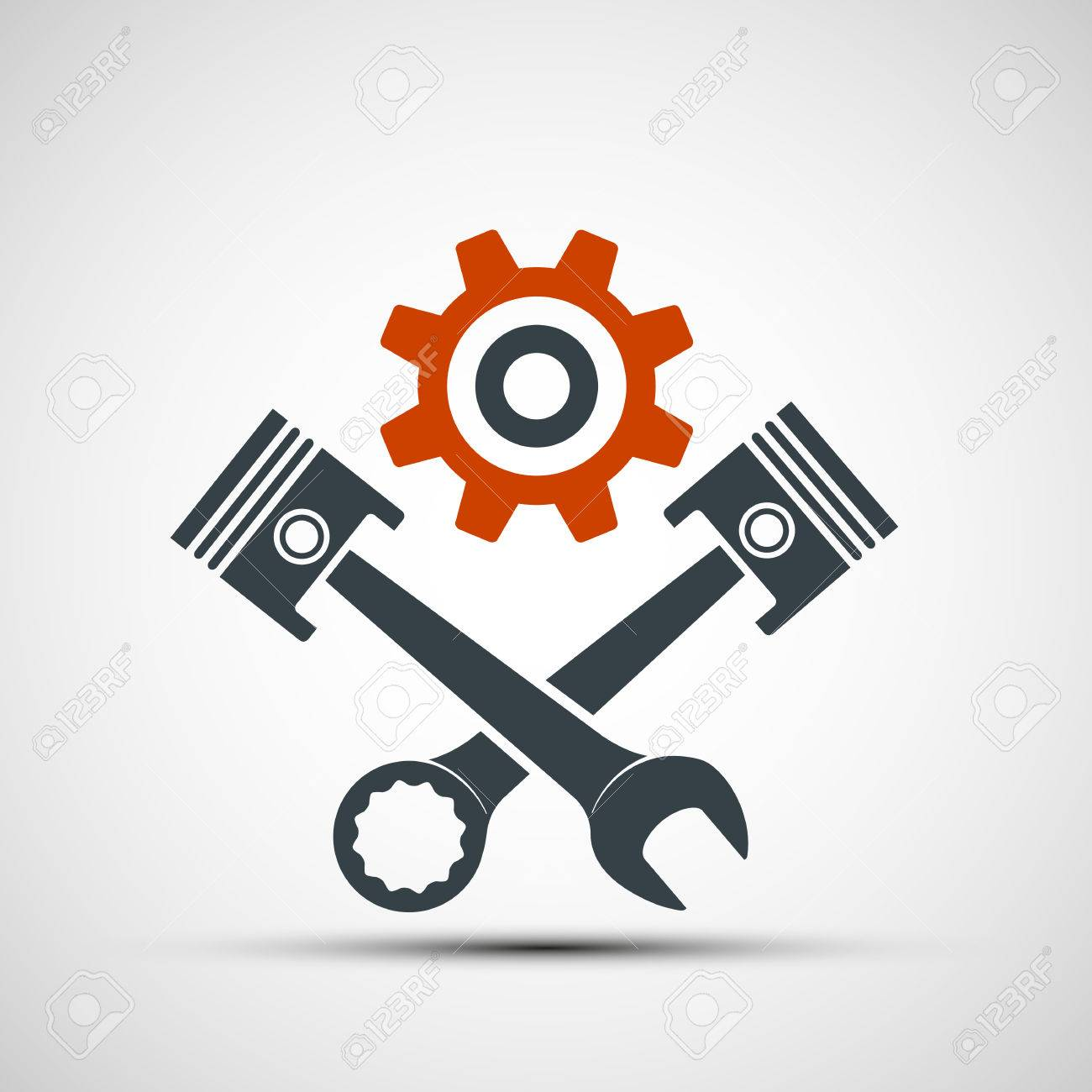 Logo engine with plungers and a wrench. Stock vector illustration. - 58748722