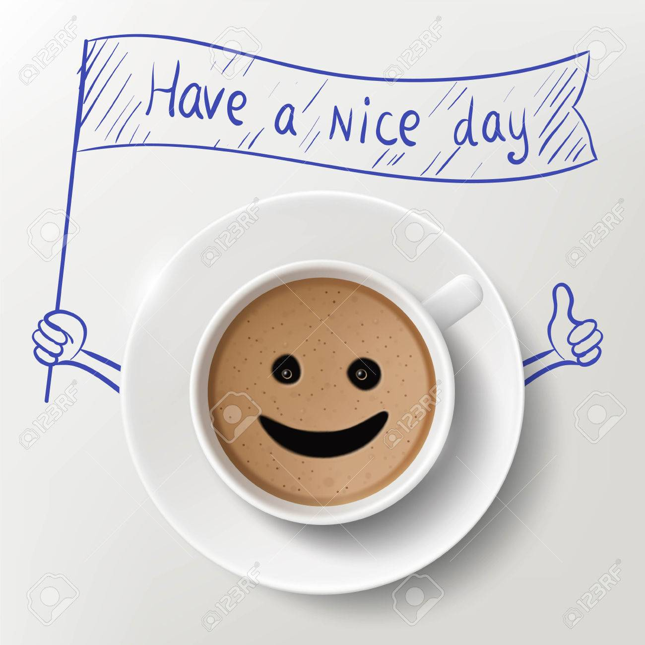 Cup Of Coffee And Doodle Image With Have A Nice Day Massage