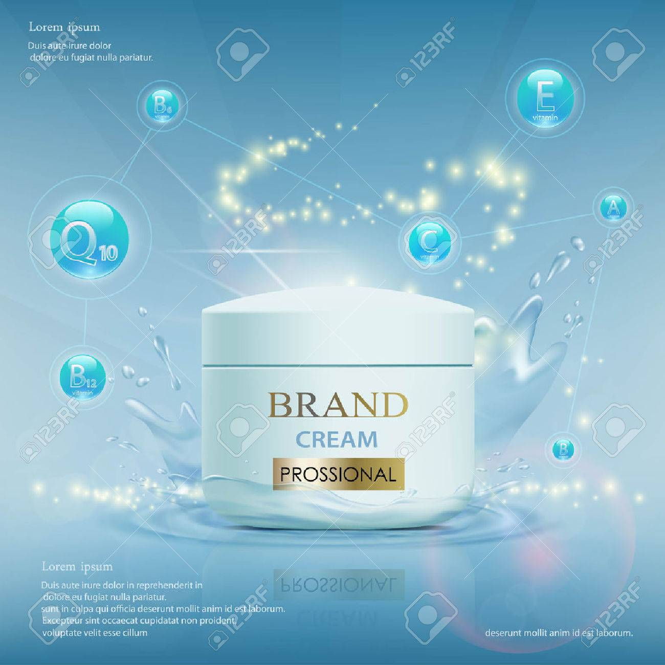 Cream with vitamins, serum and coenzyme Q10. Cosmetic ads template. Stock vector illustration. - 70686752