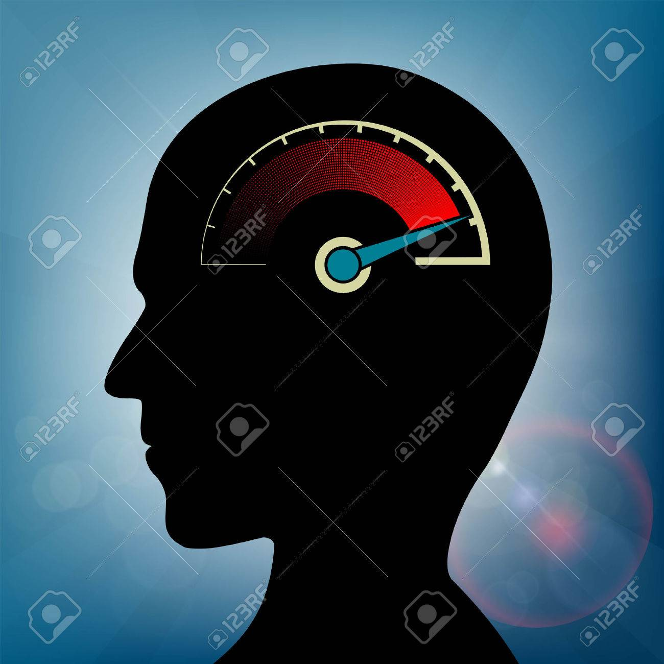 Speedometer with an arrow in human head. Nervous stress and fatigue. Stock vector illustration. - 71564666
