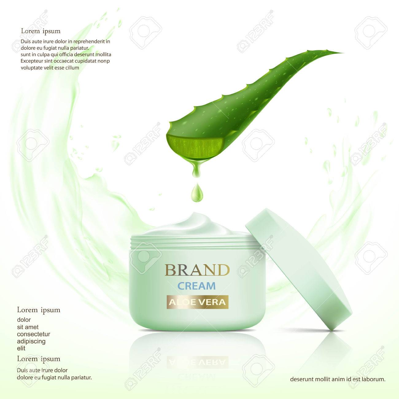 Container with cosmetic cream. Aloe vera leaf. Stock vector illustration. - 74496627