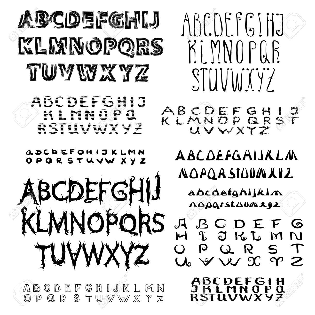Set Of Calligraphic Script Font Hand Drawn Lettering And Typography Alphabet For Design Handwritten