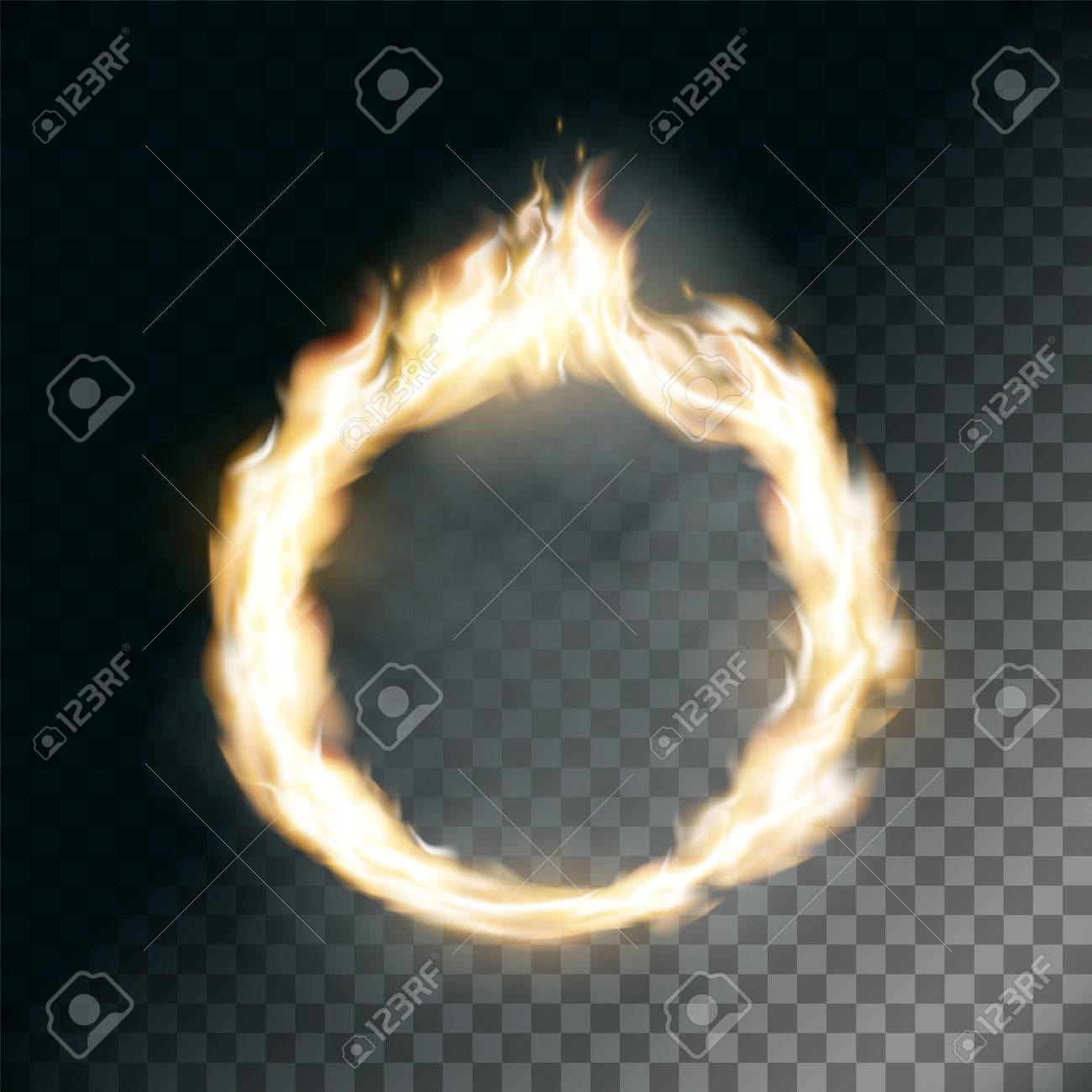 circus ring on fire texture of flame on transparent background