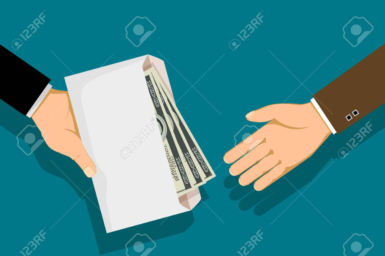 Man gives an envelope with money. Bribery and corruption. Stock vector flat graphic illustration. - 97960823
