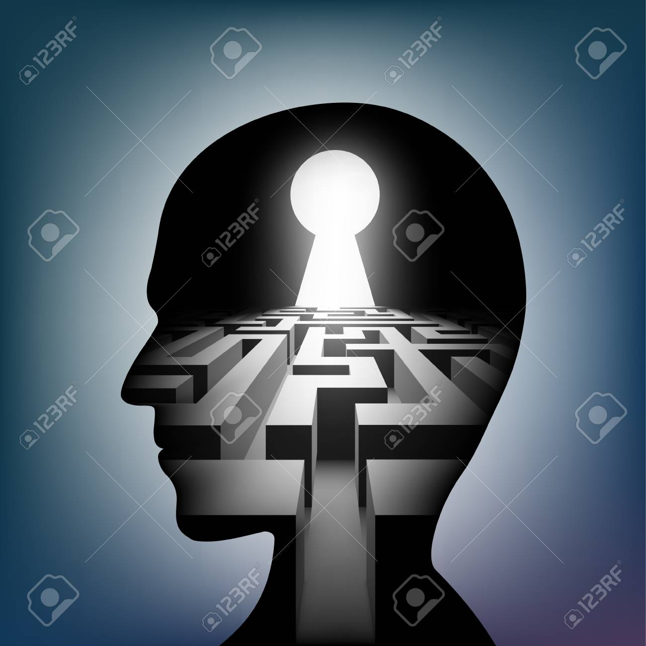 Labyrinth in the human head. Maze with a keyhole. Vector illustration. - 126055197