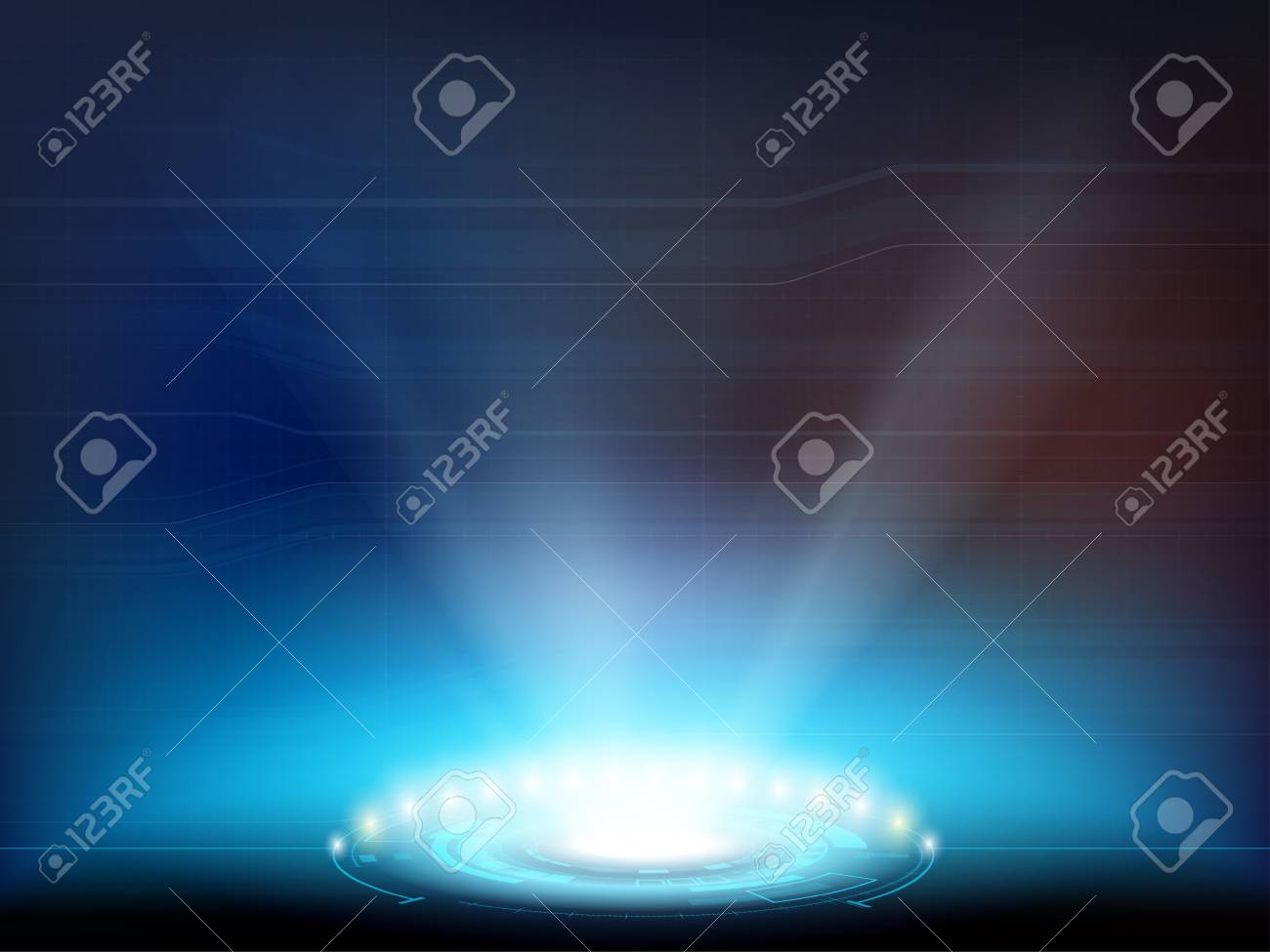 Light spotlight with HUD interface. Futuristic projector or portal for teleportation. Vector background. - 125867385
