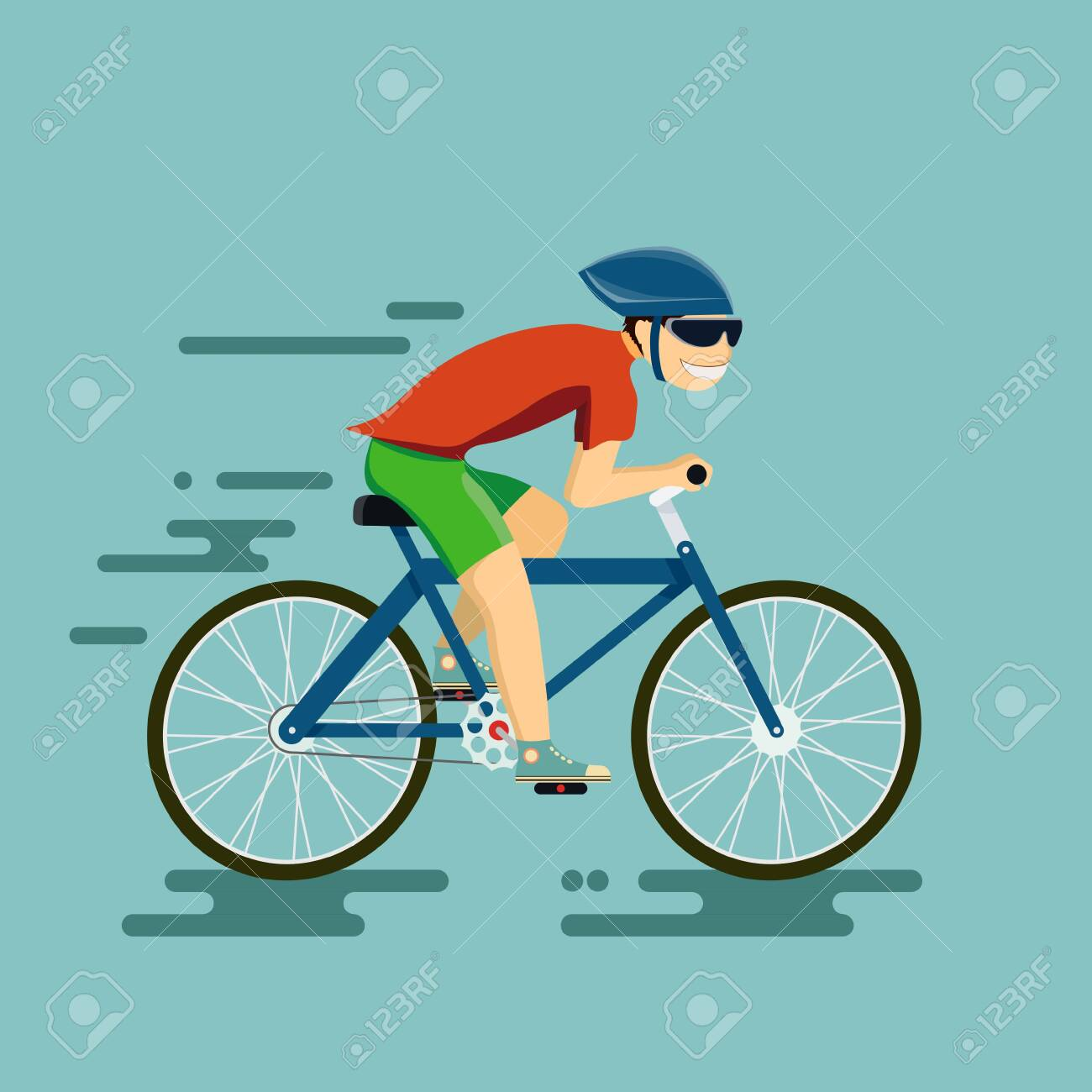 Happy man riding a bike. Vector illustration in the style of flat graphics. - 124144211