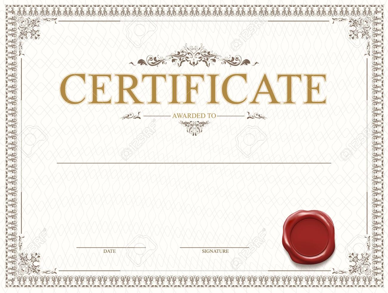 Certificate or diploma template design with seal and watermark. Vector illustration. - 122695287