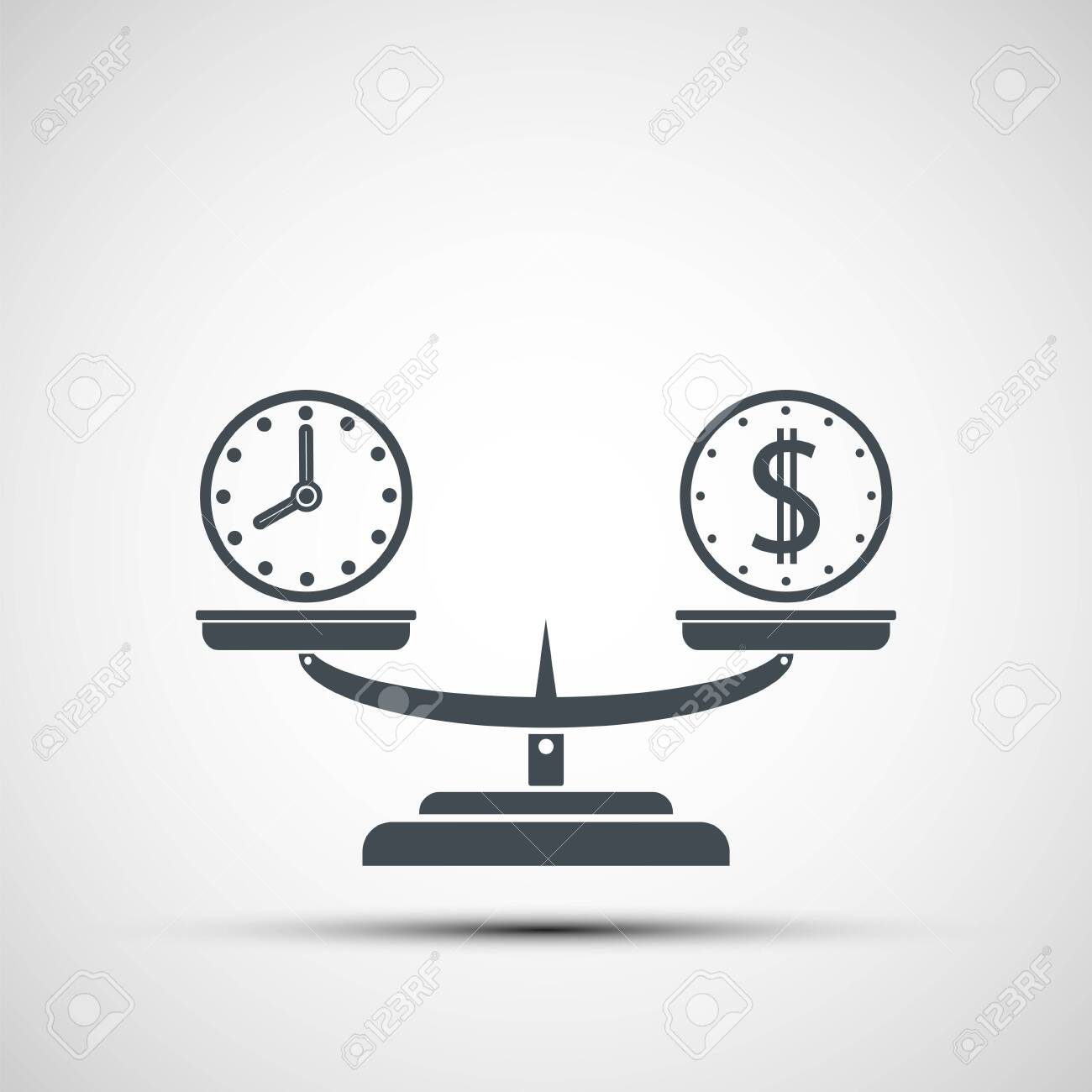 Icon money and time balance on the scales. Weighing dollar coins and clock. Vector logo - 132385839