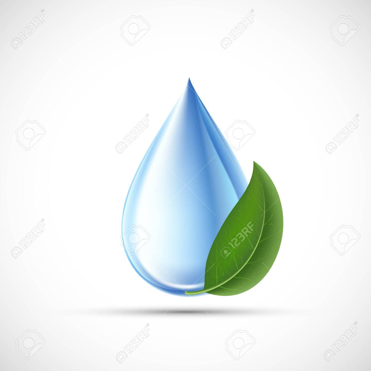 Drop of water with a green leaf. Eco concept. Isolated on a white background. Vector icon - 133331768