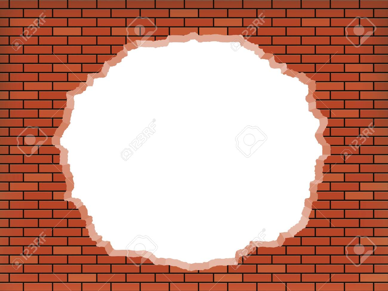 White hole in broken red brick wall. Vector background. - 143953775