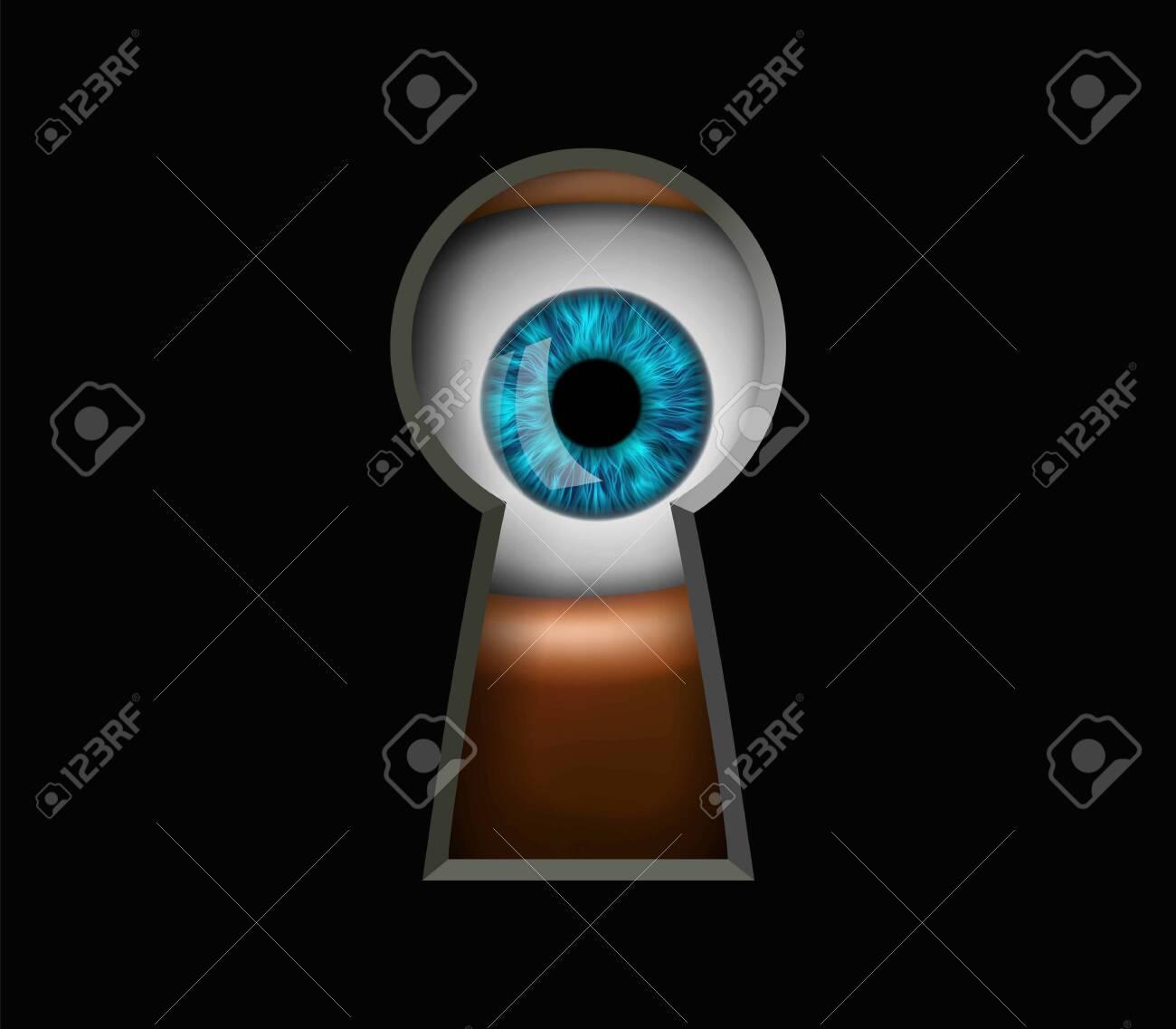 Human eye looking through a keyhole. Peeping and curiosity. Vector illustration. - 152014919