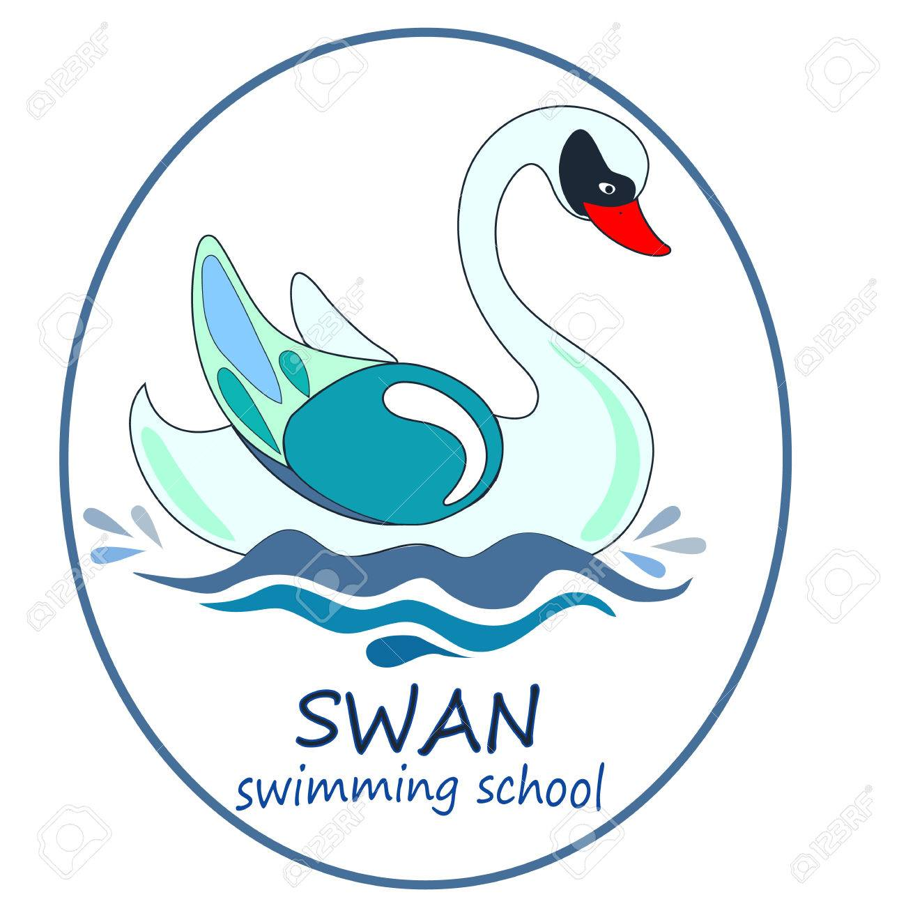 The Cool Vector Logo Swan For T-shirt Design Or Swimming School ...