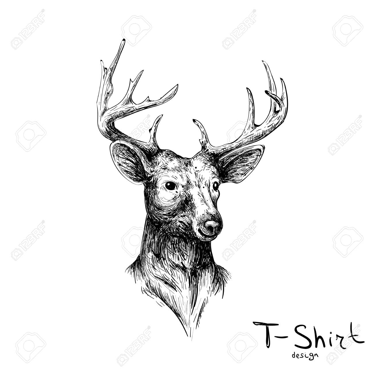 The Vector deer for tattoo or T-shirt design or outwear. Cute print style deer background for canvas - 138365165