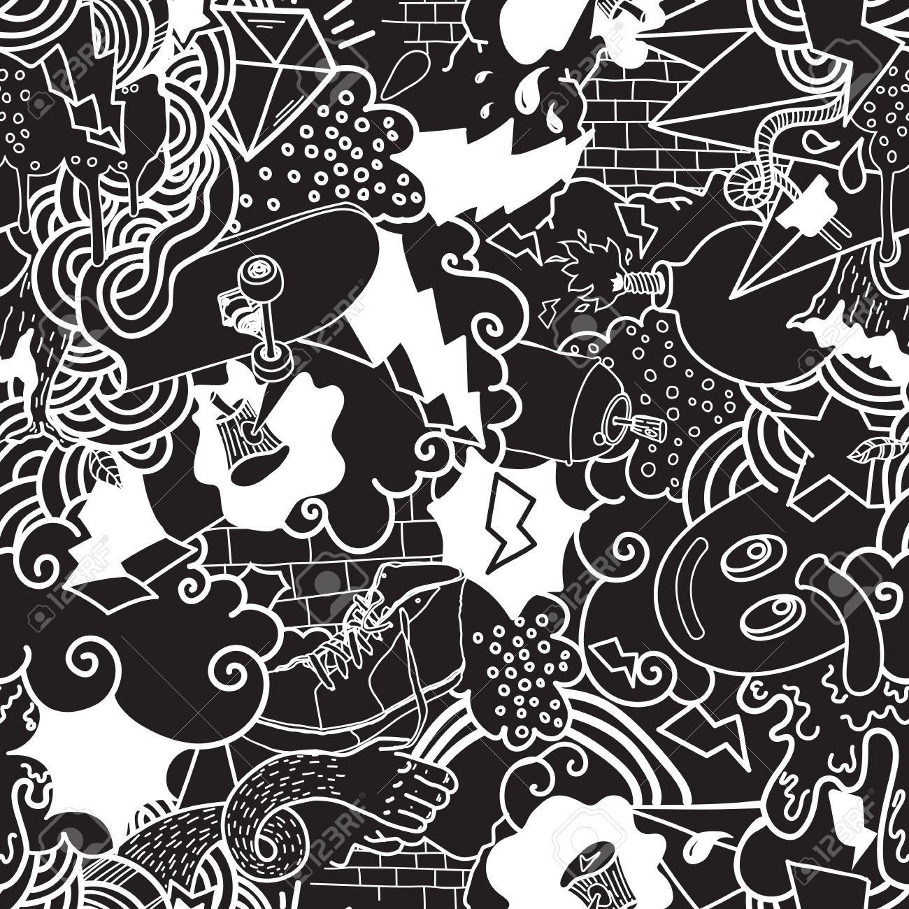 Seamless Pattern Graffiti Doodles Street Art Illustration In