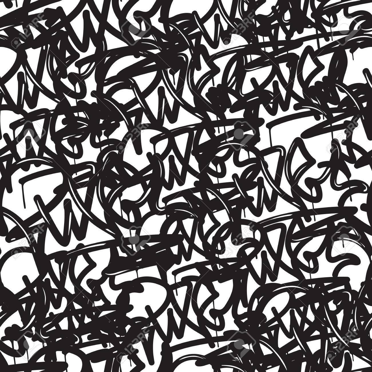 Bien-aimé Background Graffiti Seamless. Vector Balises, L'écriture. Style  LX61
