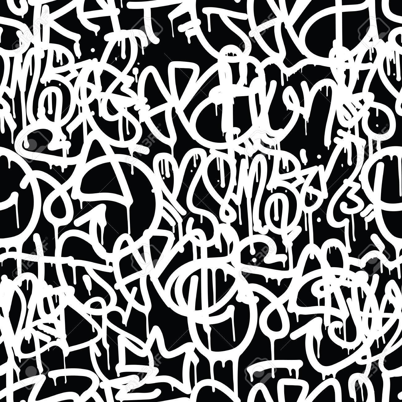 Graffiti background seamless pattern vector tags writing graffiti hand style old school