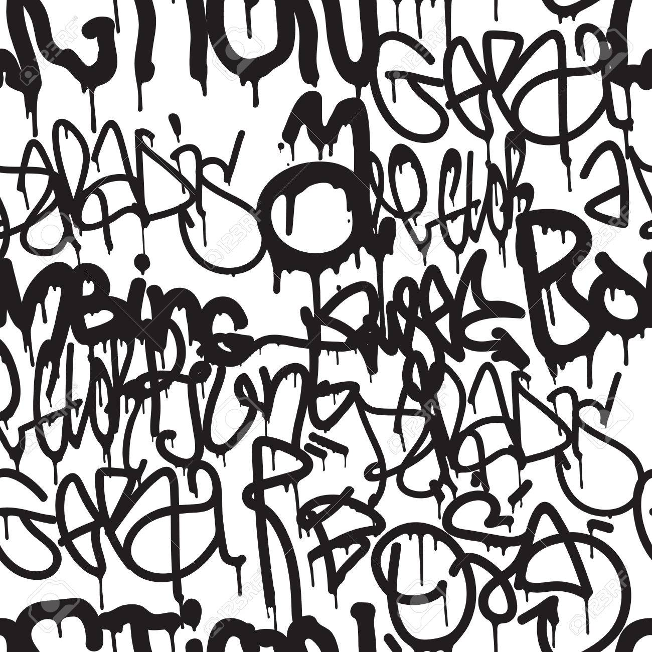 Graffiti background seamless pattern vector tags writing graffiti tagging hand style old