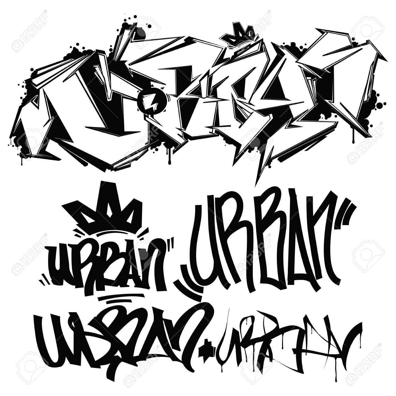 7f0df97e4 Urban Typography Graffiti Tags Royalty Free Cliparts, Vectors, And ...