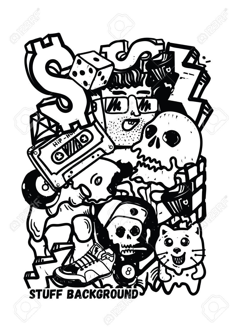 Graffiti vector stuff background sticker poster colorful doodle pattern in black and white color used