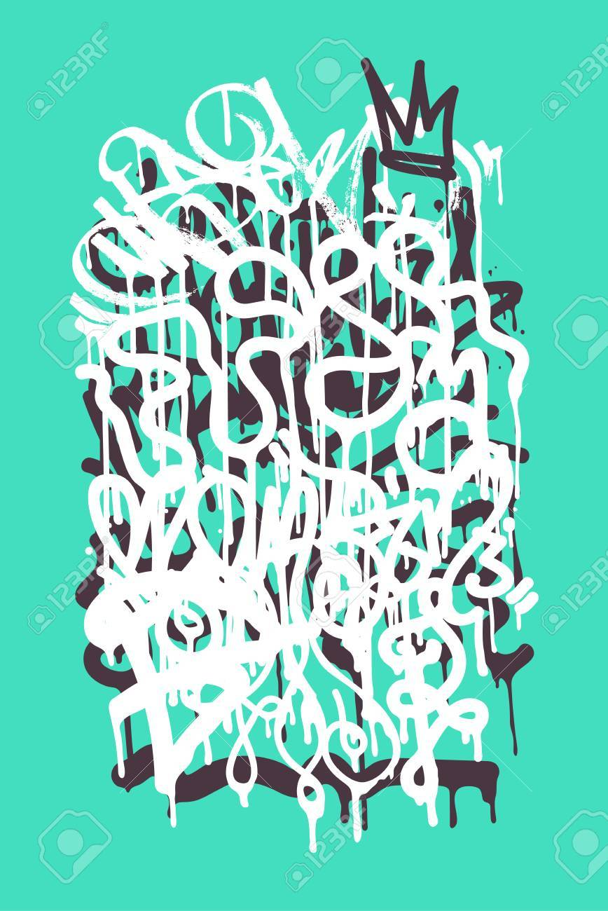 Vector vector fashion graffiti font modern hand drawing retro style font texture design elements in white green black blue