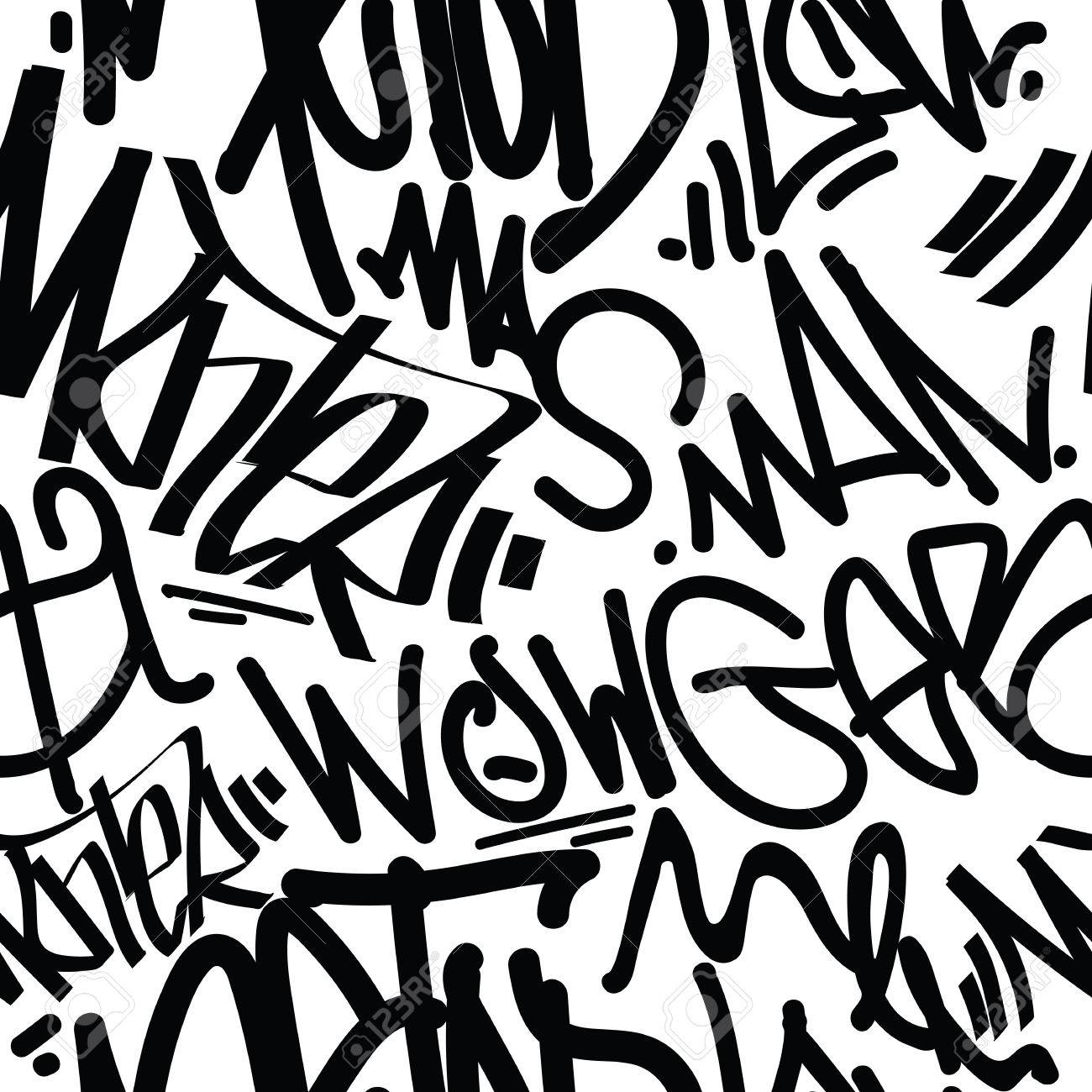 Tags Seamless Pattern Fashion Graffiti Drawing Texture Street Art Retro Style Abstract