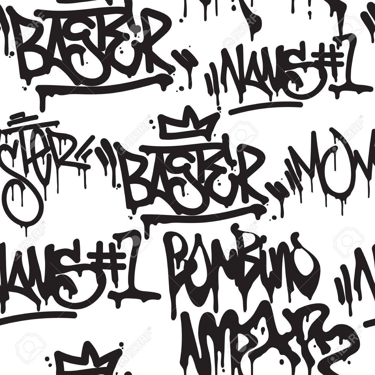 Modèle Sans Couture De Balises De Vecteur Mode Graffiti Noir Et