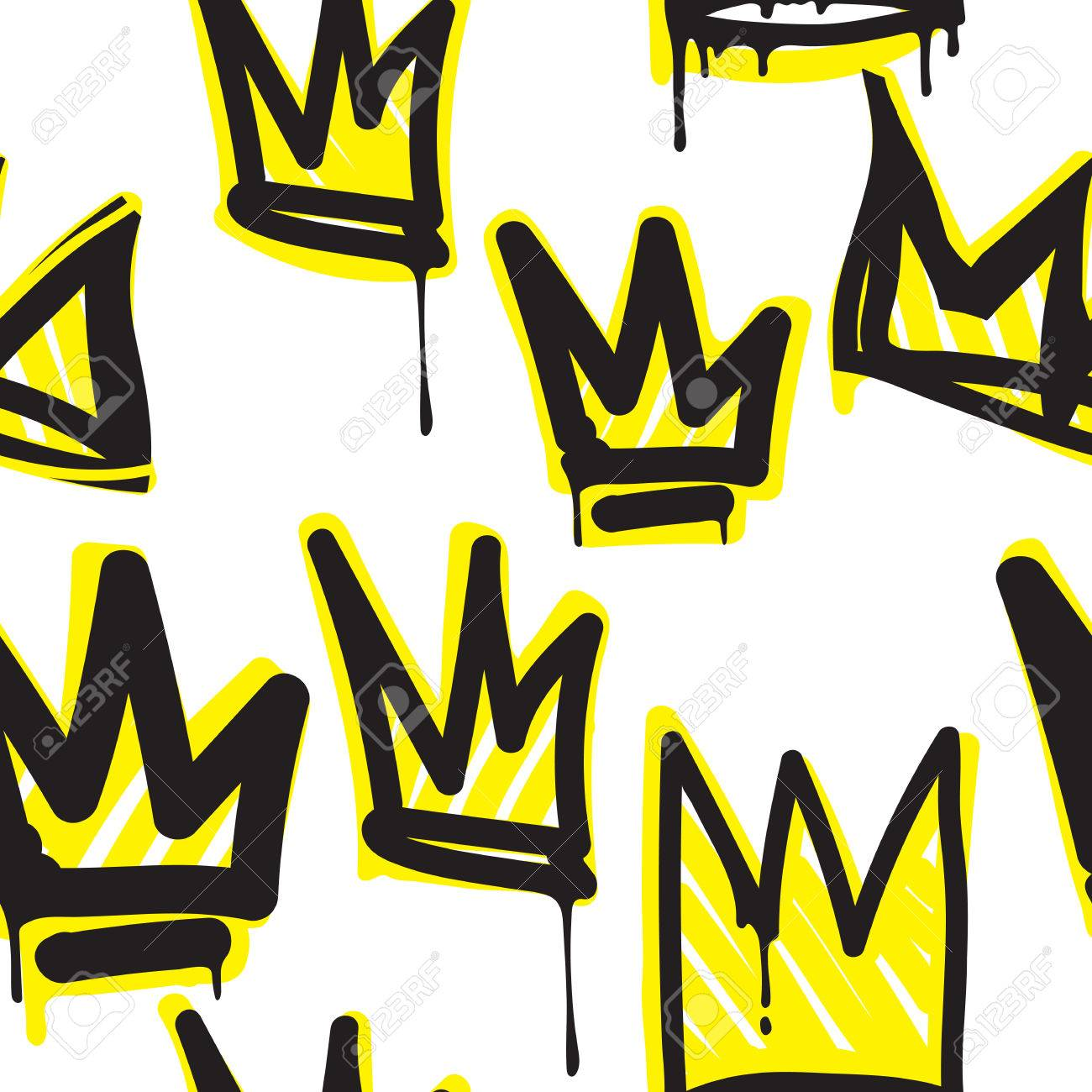 la couronne de la mode la main graffiti dessin dessin texture de conception dans le style de lart de la rue hip hop pour le t shirt le textile de - Dessin Graffiti