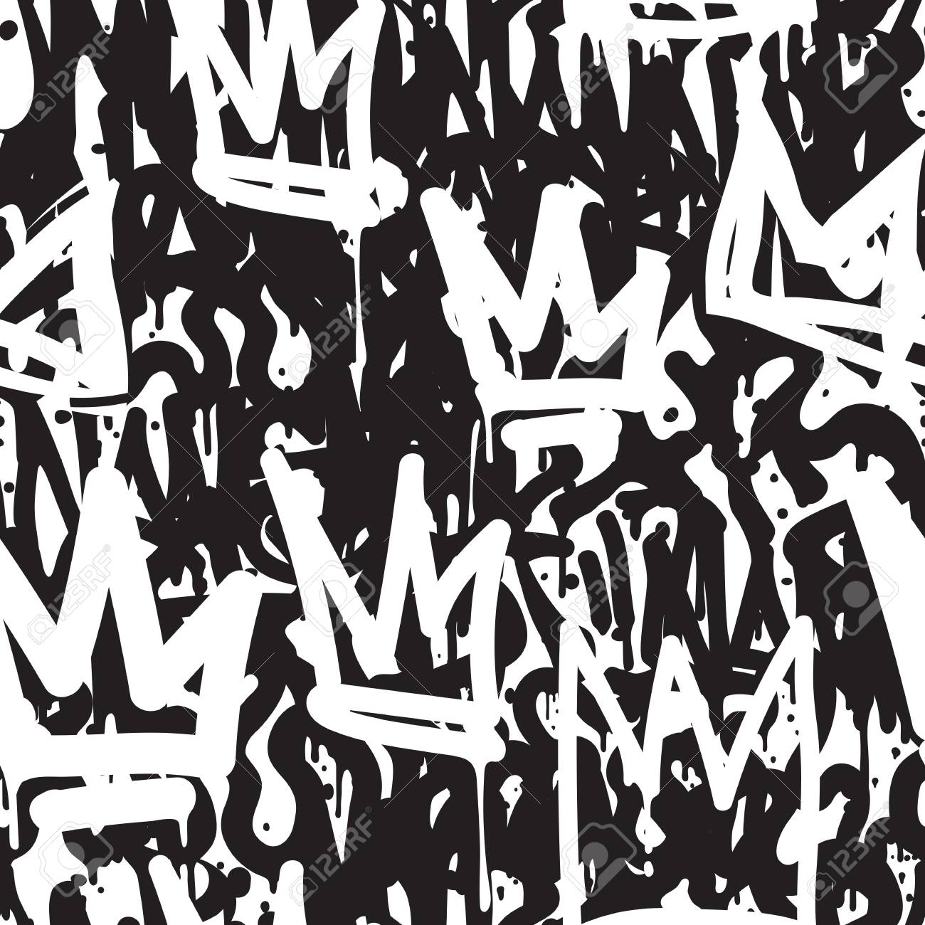 Fashion black and white graffiti hand drawing design texture in hip hop street art style for t shirt skateboard textile