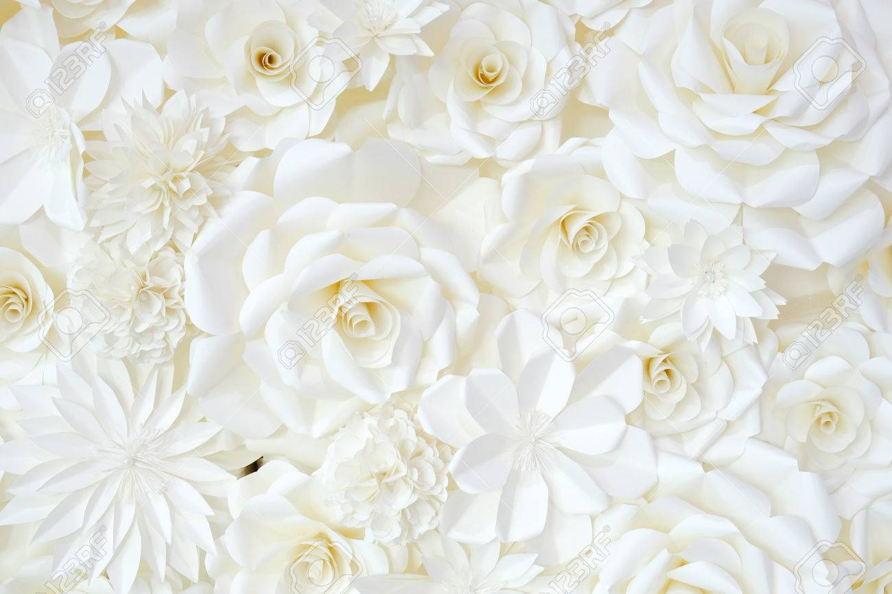 Background Of Paper Folding Flower In White Cream Color Stock Photo