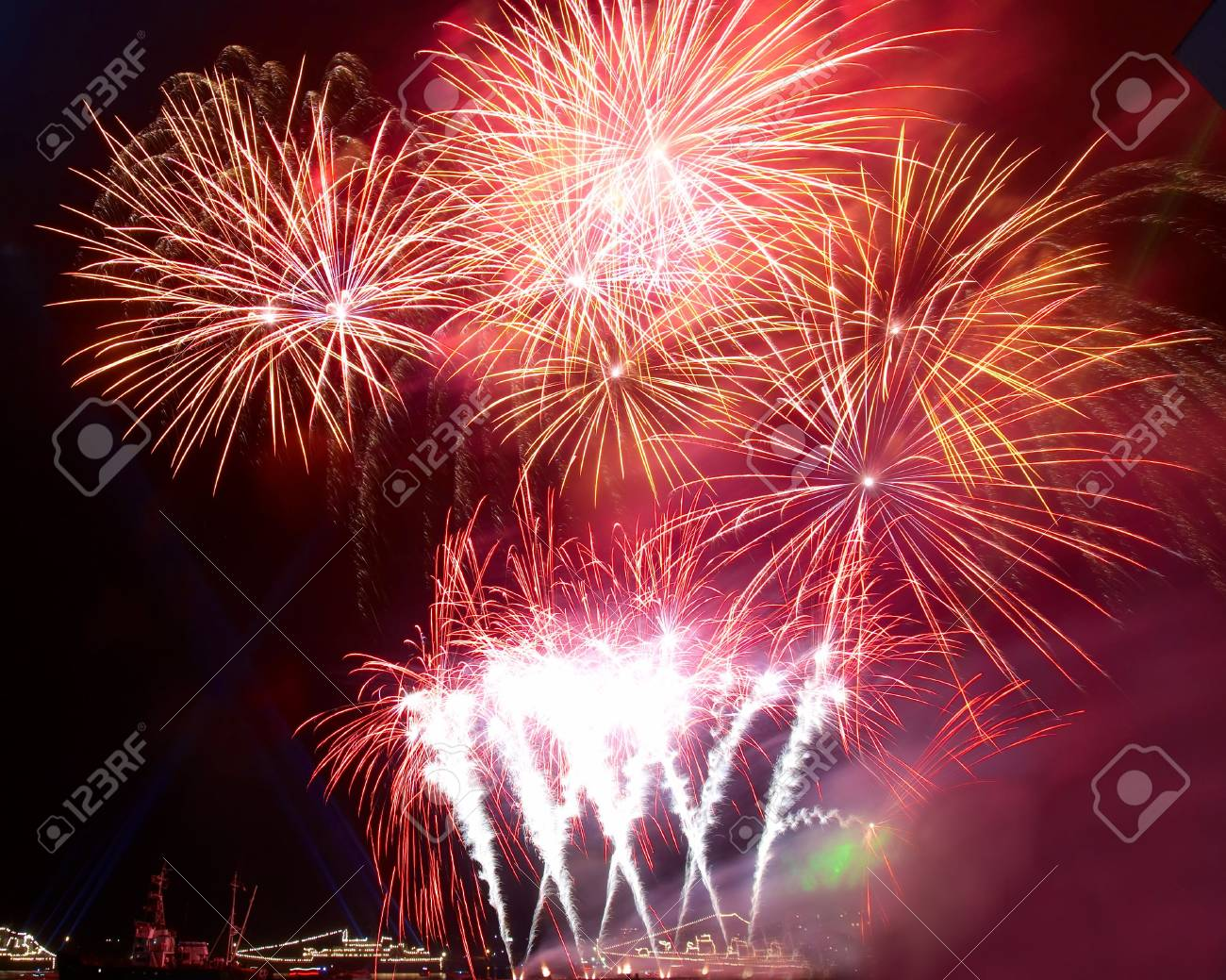 Salute, fireworks above the bay. Sevastopol, Ukraine. - 3762056