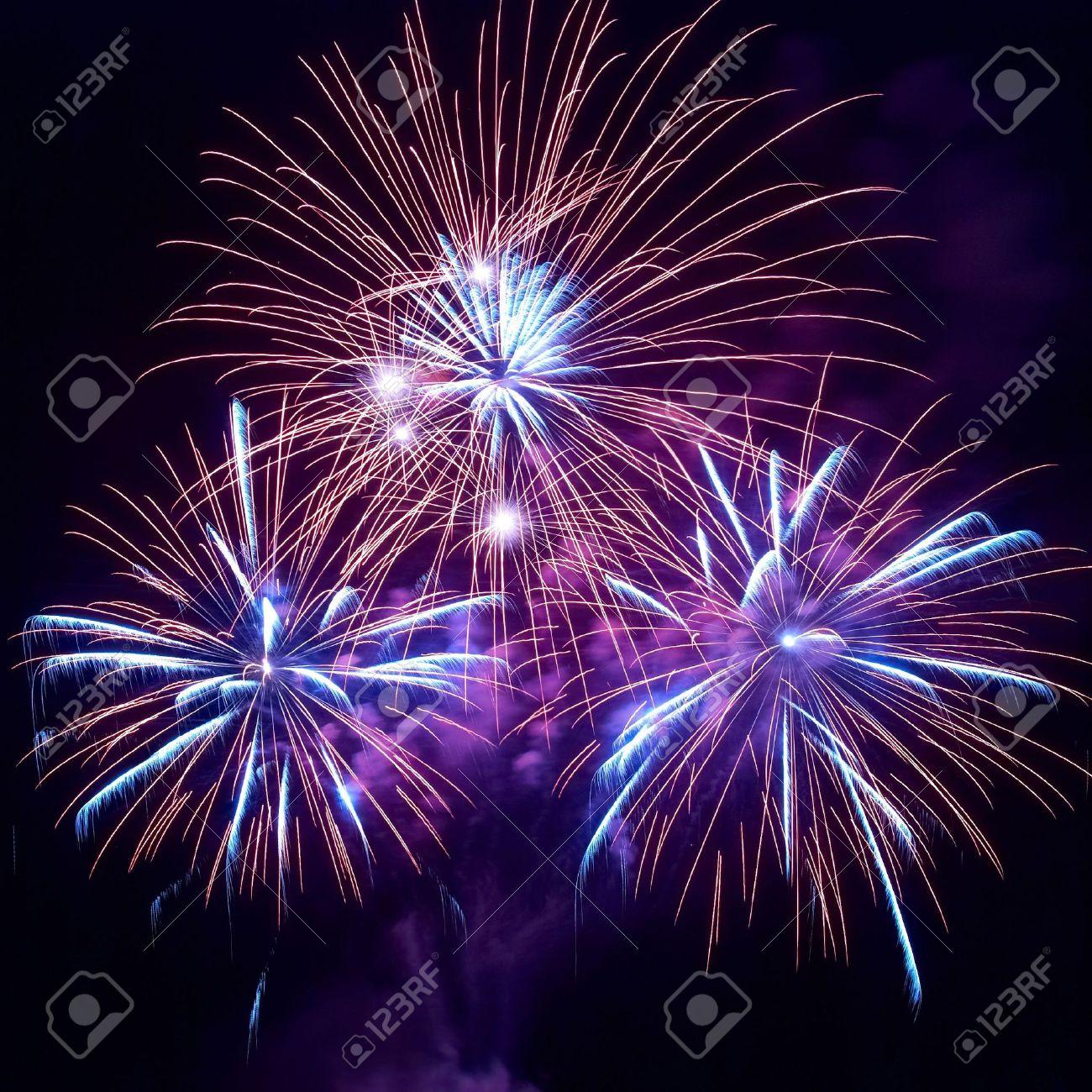 Beautiful fireworks on the black sky background Stock Photo - 6047284