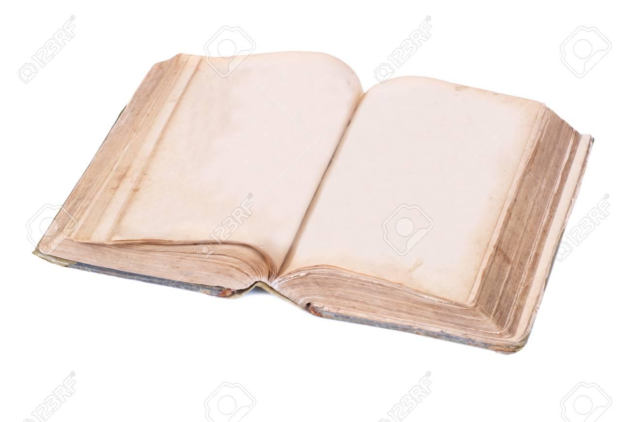 Livre Ancien Ouvert Isolee Sur Fond Blanc